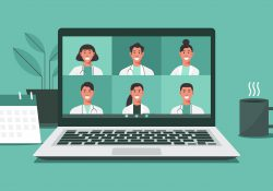 Illustration showing health care workers on a laptop computer screen as if in a virtual meeting.