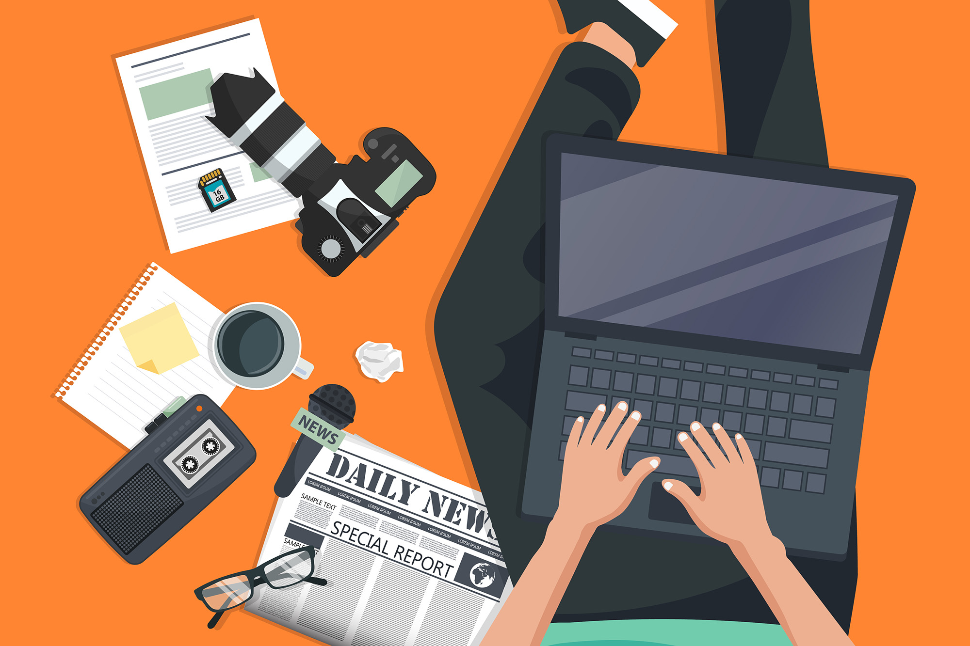 Stock illustration of a person typing on a laptop with various journalism tools around them, like a camera, newspaper, tape recorder, etc.