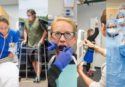 A collage of Nursing and Allied Health students performing various activities related to their disciplines.