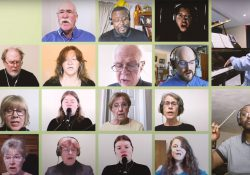 A screenshot from the choir video showing several choir members singing in a grid layout.