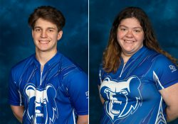 KCC bowlers Bryan Foote and Emma O'Donnell.