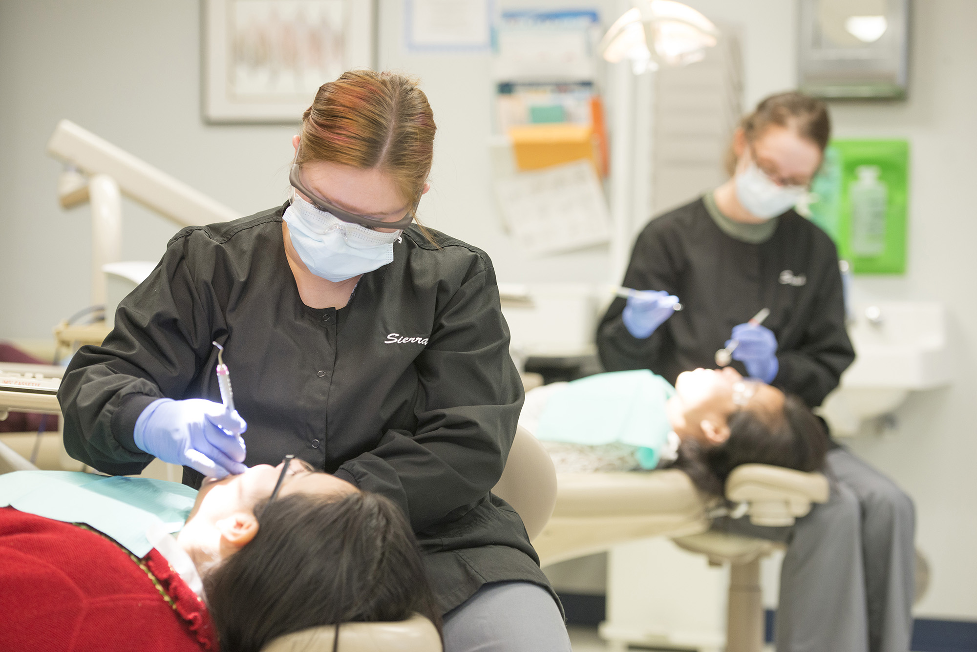 Dental Hygiene students clean other students' teeth in the Dental Hygiene Clinic.