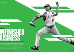 """A stylize image of a KCC pitcher on a green background, with text that reads """"Unfinished Business."""""""