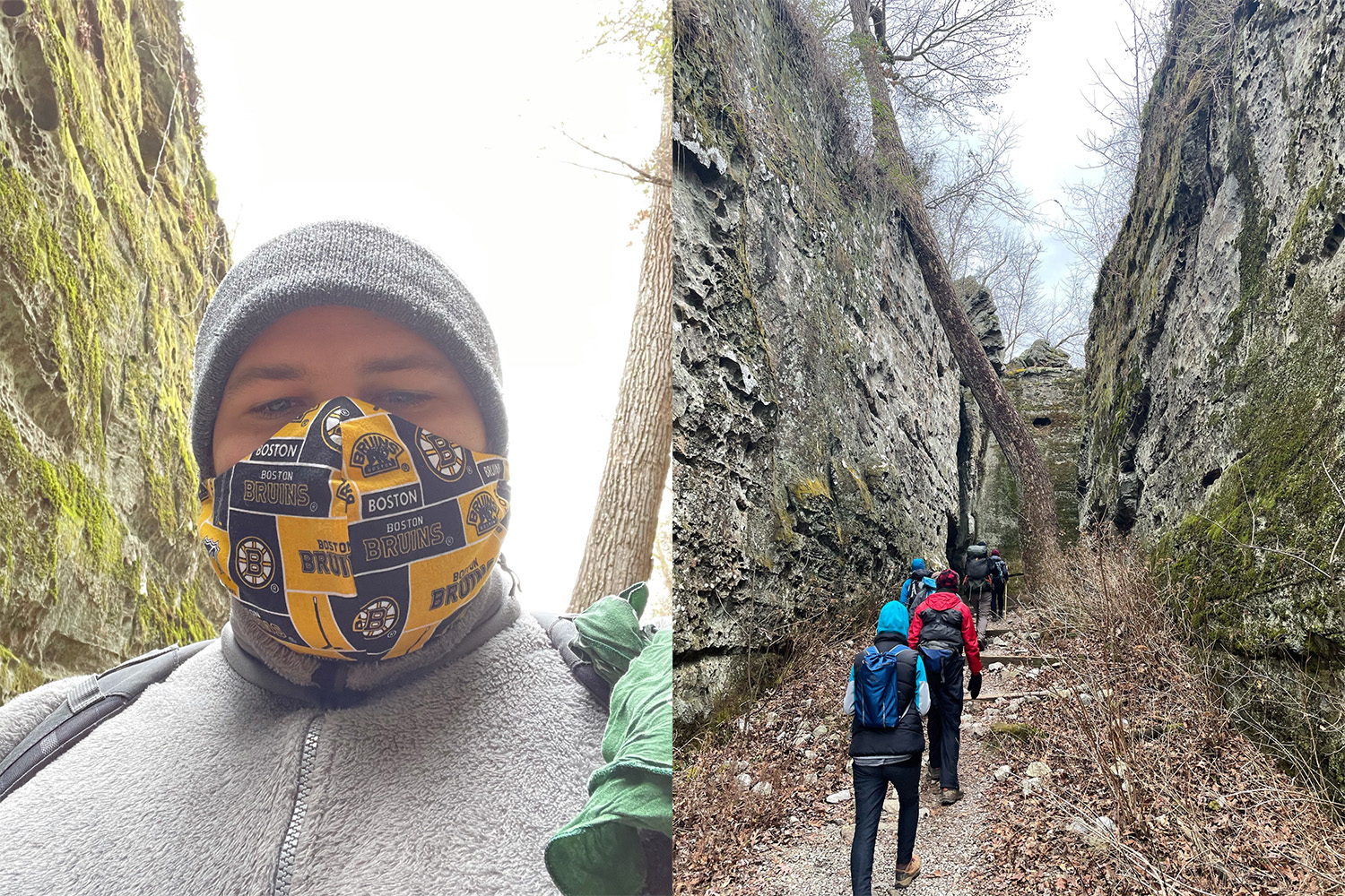 A collage of two pictures including one of Drew Hutchinson wearing a face mask and another of a group of people hiking through a canyon.