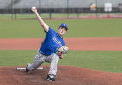 A KCC pitcher pitches during a game.