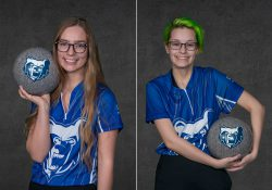 KCC bowlers Kelsey Kipp and Rachel Erskine.