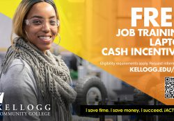 """A female student smiles in safety goggles on a text slide that reads """"Free job training, laptop, cash incentives. Eligibility requirements apply. Request information at www.kellogg.edu/iact."""""""