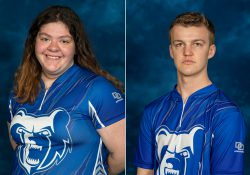 KCC bowlers Emma O'Donnell and Zach Barker.