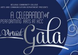 "White text on a stylized blue background that reads, ""Kellogg Community College Arts and Communication Department presents ""A Celebration of Performing Arts at KCC: A Virtual Gala."""