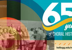 "A graphic featuring an archival photo of a KCC choir and text that reads ""65 years of choral history. www.kellogg.edu/music."""