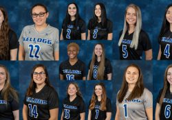 A collage of photos of players on KCC's women's soccer team.