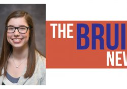 """A portrait of Sarah Hubbard over a stylized orange and white background and white and purple text that reads """"The Bruin News."""""""