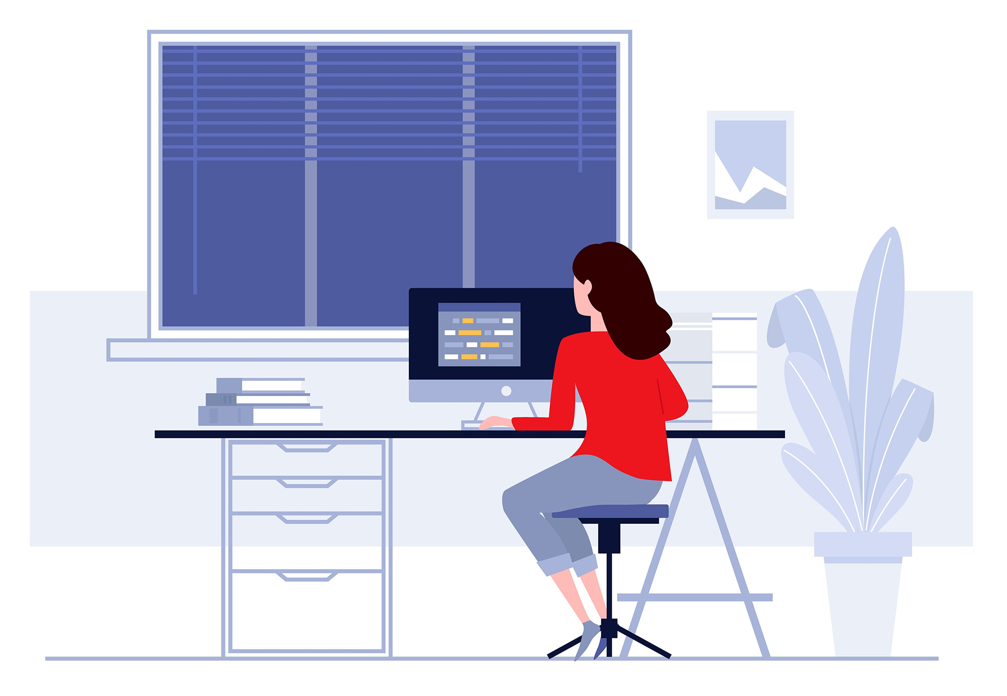 Illustration of a woman sitting at a desktop computer.