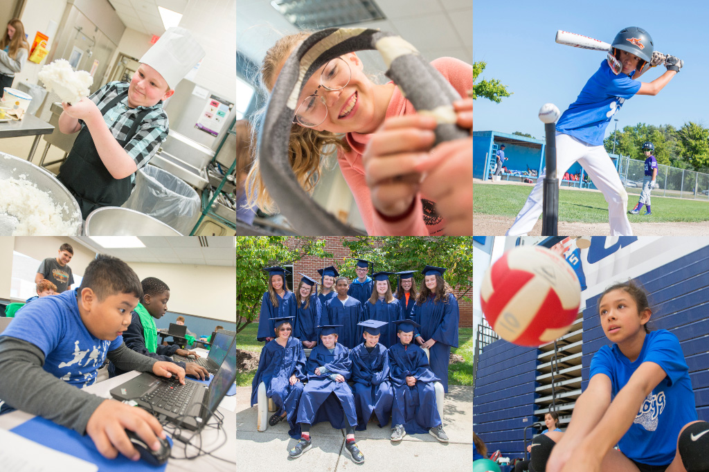 A collage of photos of kids participating in various summer camp activities.