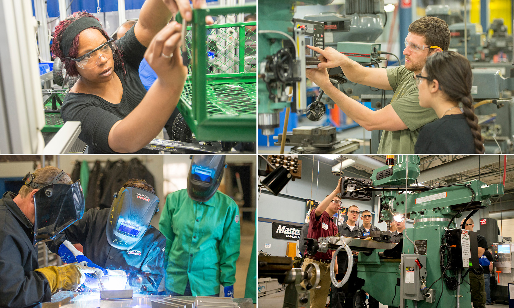 A collage of photos of industrial trades students training at the RMTC.