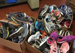 More than 70 pairs of shoes donated by the Kalamazoo Area Runners in Battle Creek this month.