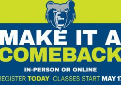 "A green and blue graphic featuring the Bruin head logo and text that reads ""Make it a comeback. In-person or online. Register today. Classes start May 17."""