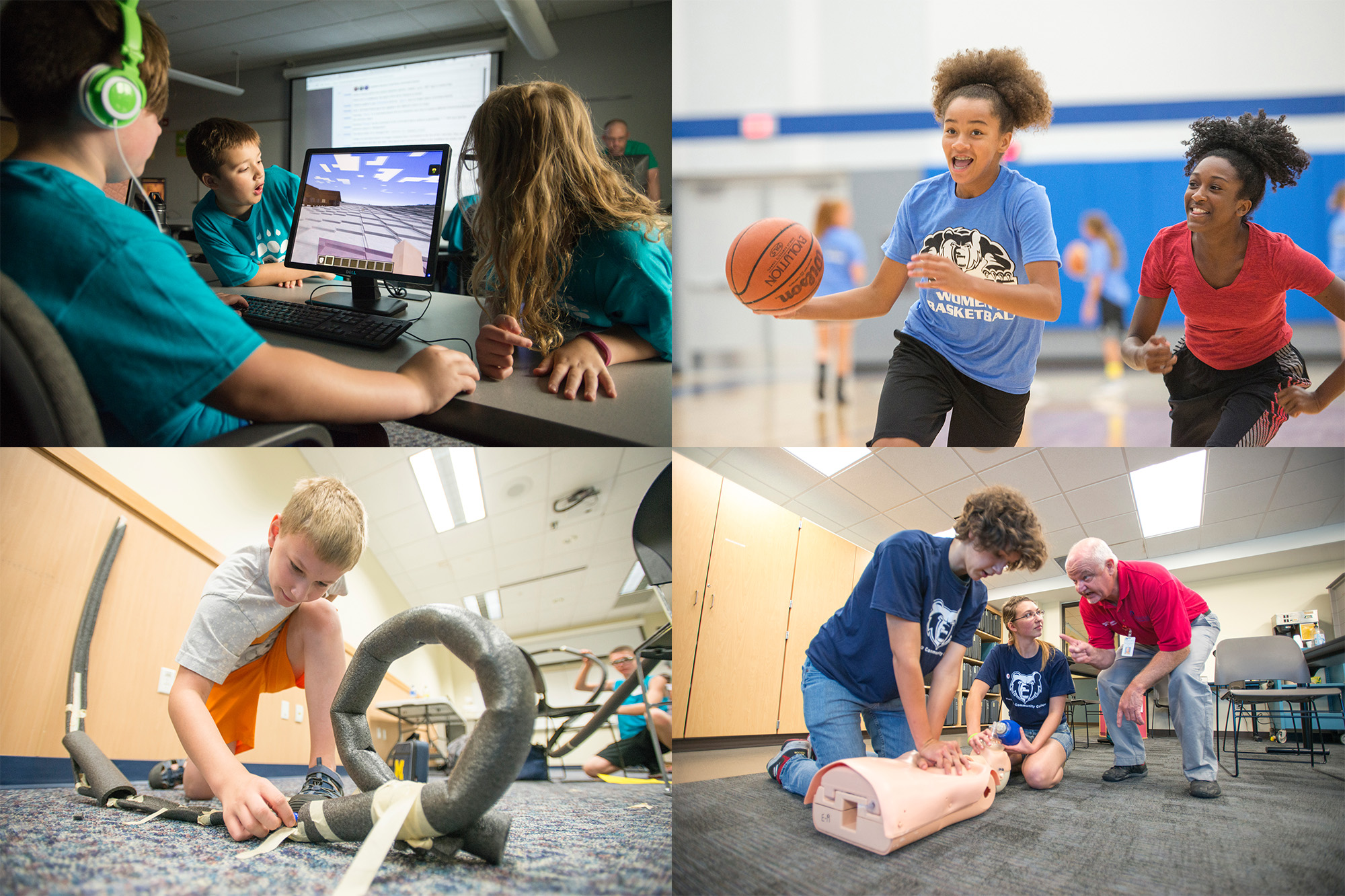 Youth summer campers participate in various camp activities.