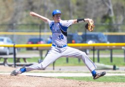 Pitcher Zach Marshall pitches during a game.
