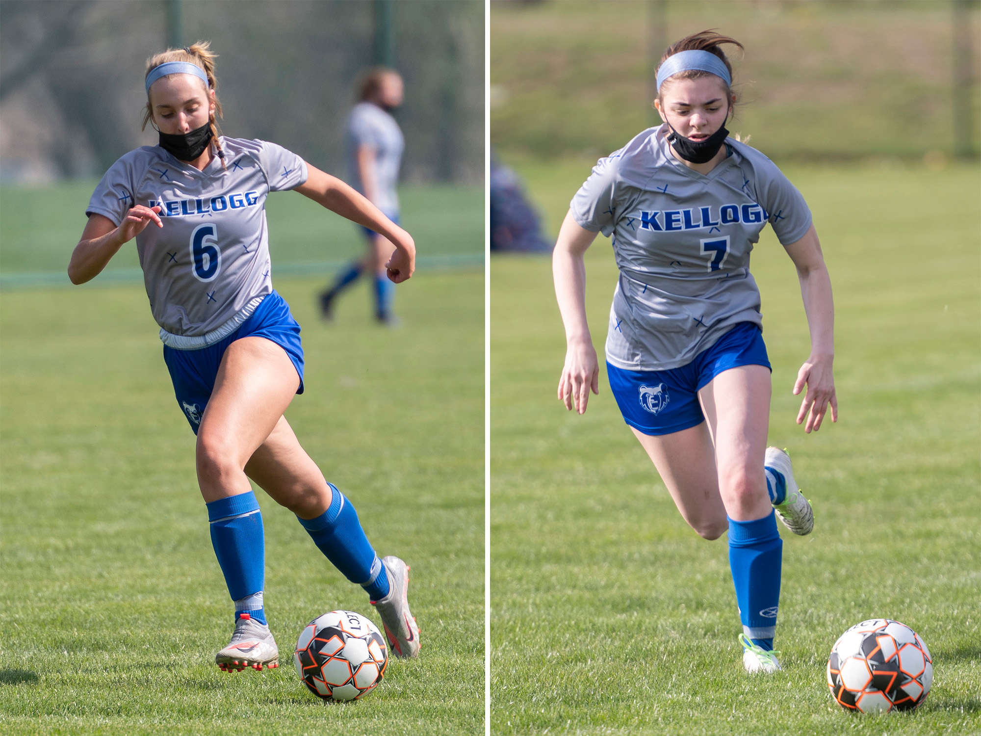 Women's soccer players Ellie McGarry and Payton Olmstead.