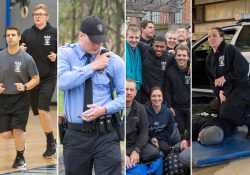 A collage of photos of KCC Police Academy cadets doing various activities.