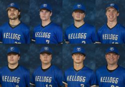 Portraits of the KCC baseball players who won awards, as highlighted in the post.