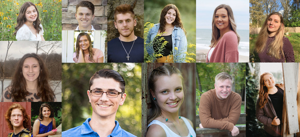 A collage of headshot photos of 14 of 15 of KCC's 2021-22 Gold Key Scholarship recipients.