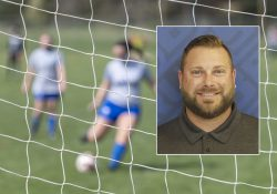 Foreground: A headshot photo of Head Women's Soccer Coach Levi Butcher. Background: A soccer player kicks a ball into the goal.