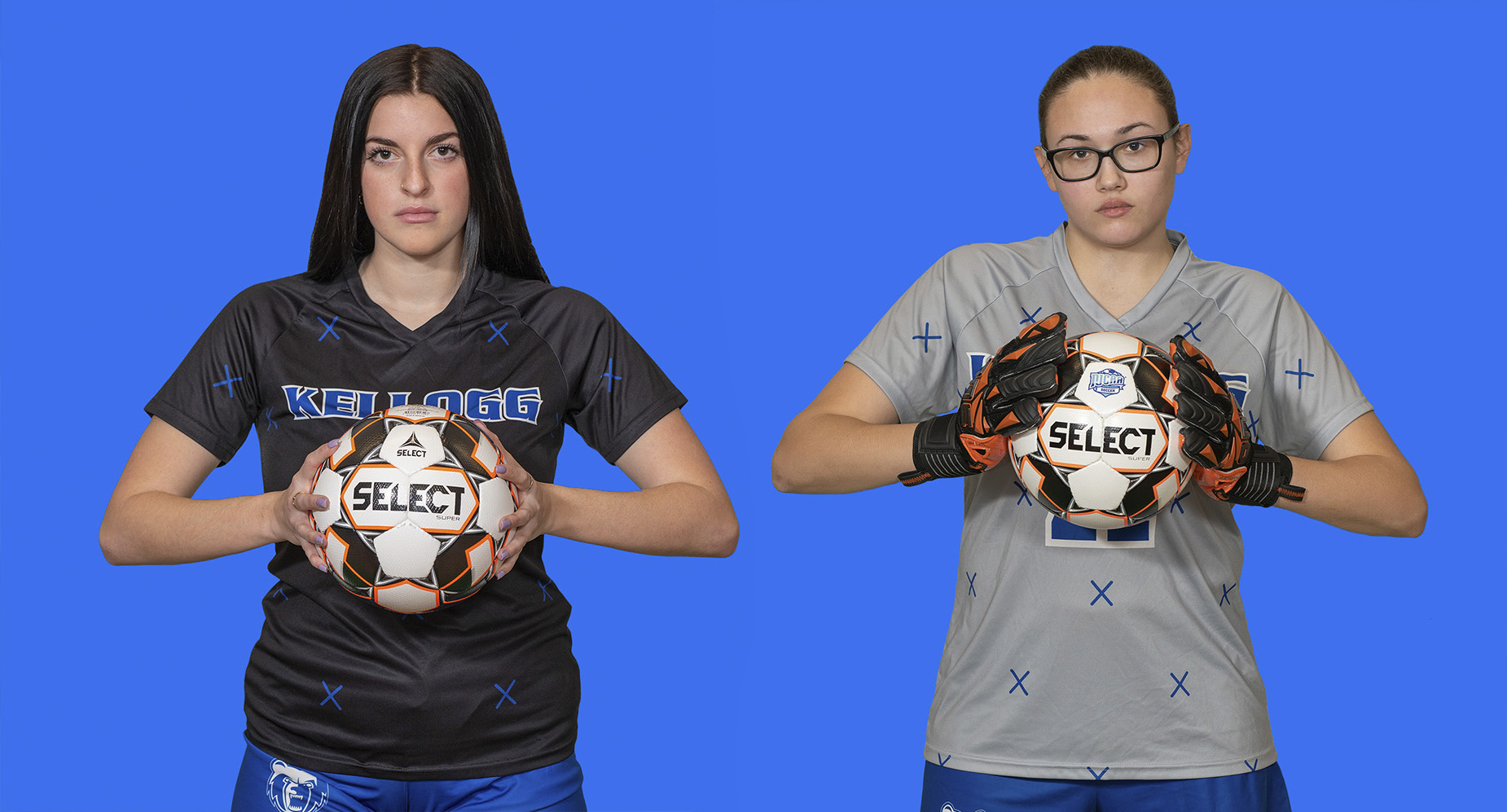KCC women's soccer players Rachel Bammer and Maya Ruelas.