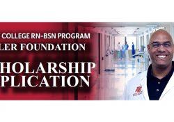"A nurse smiles on a text slide that reads ""Olivet College RN-BSN Program Miller Foundation Scholarship Application."""