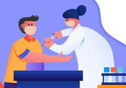 Illustration of a medical provider drawing blood from a patient.