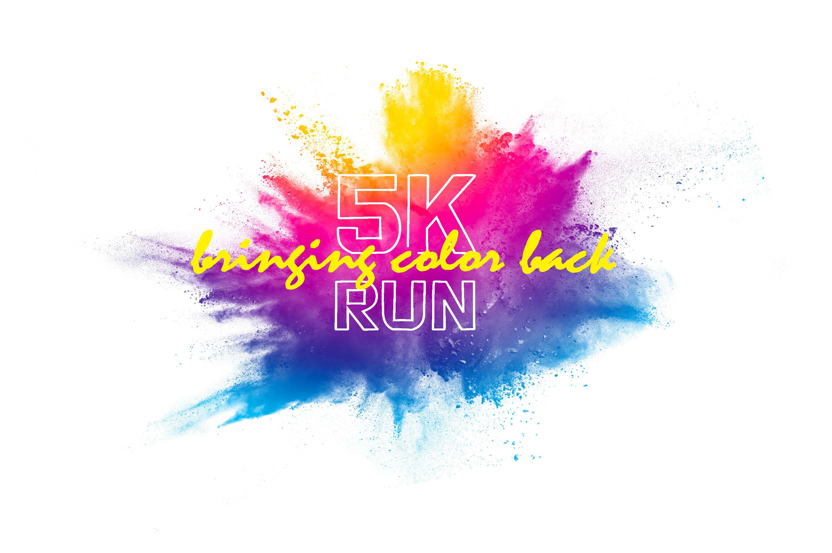 The Bring Color Back 5K run logo., which is a rainbow splash of color.