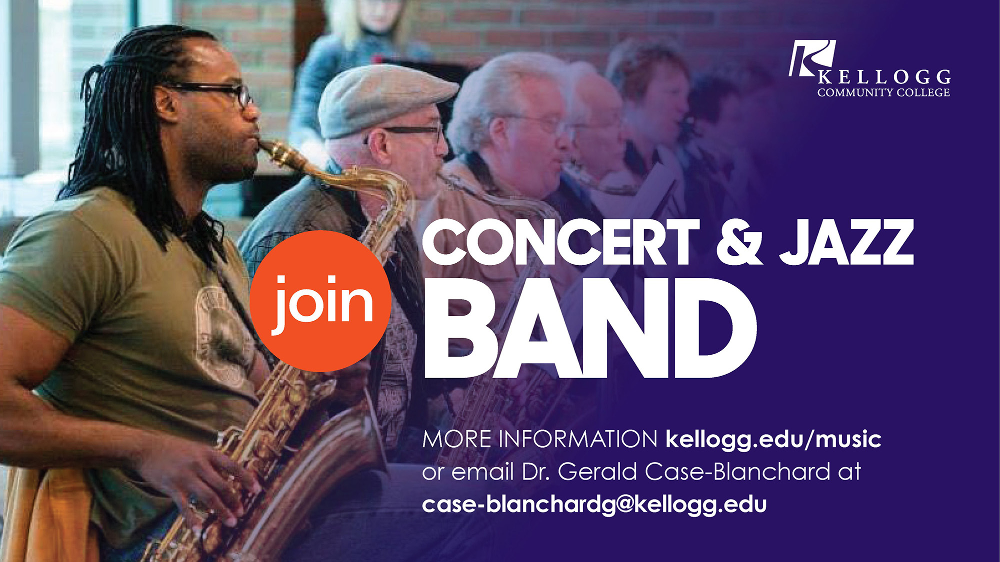 """Student musicians play instruments on a slide that reads, """"Join Concert & Jazz Band. More information kellogg.edu/music or email Dr. Gerald Case-Blanchard at case-blanchardg@kellogg.edu."""""""