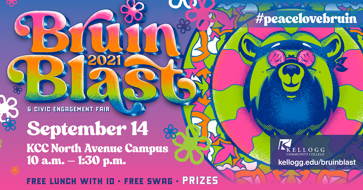 A graphic text slide with Bruin Blast dates and a colorful illustration of a bear in 1960s style sunglasses.