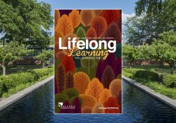 The cover of the Fall 2021 Lifelong Learning schedule superimposed over a view of the KCC reflecting pools.
