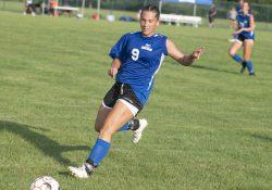 KCC soccer player Allison Biergeder competes during a game.