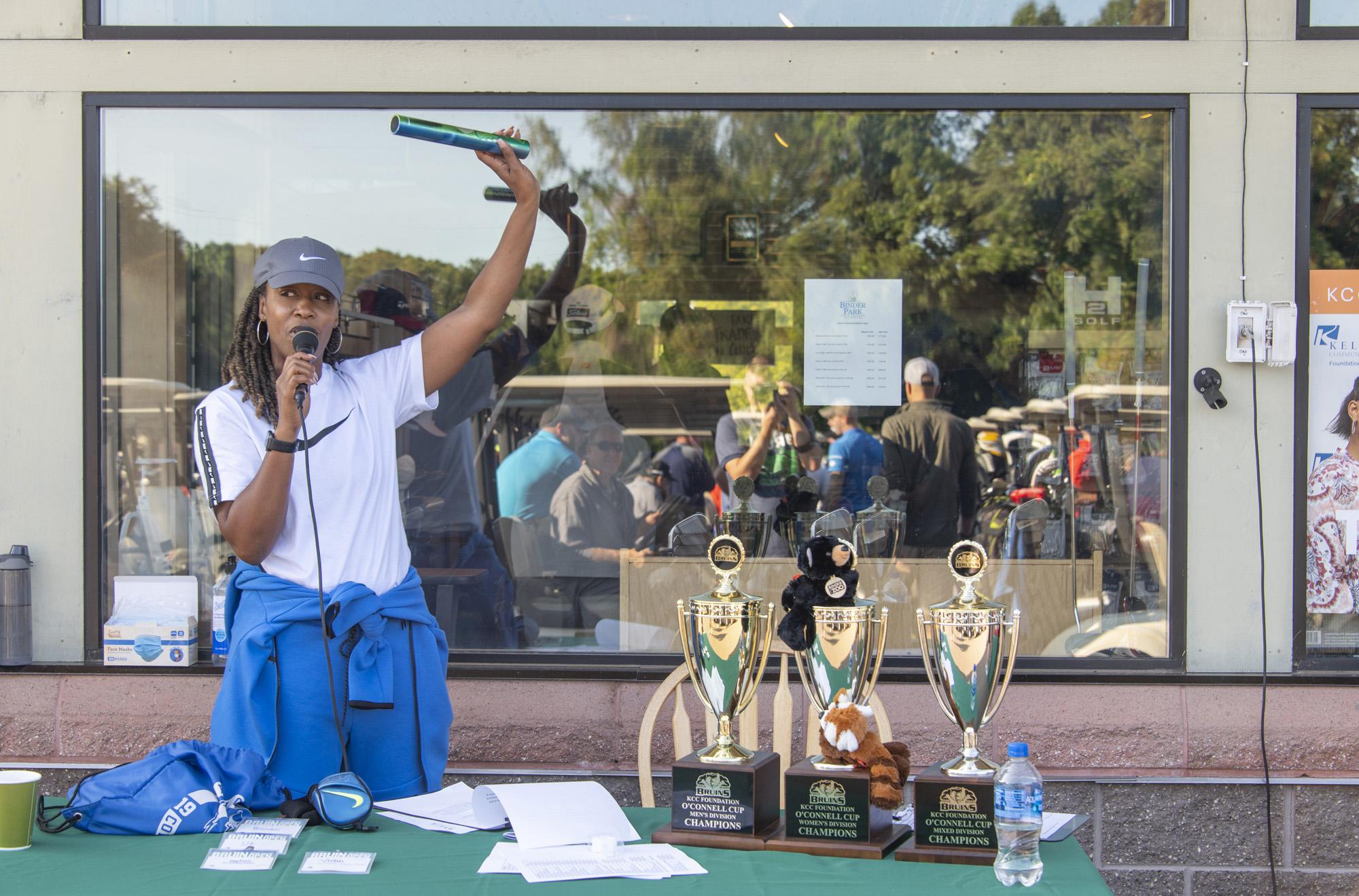KCC President Dr. Adrien Bennings addresses golfers before the start of the 24th annual Bruin Scholarship Open on Sept. 10.