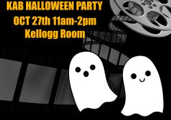 Party invitation with ghosts and movie film.