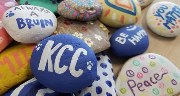 Volleyball team's painted rocks