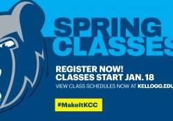 """The Bruin head logo on a text slide that reads """"Spring classes. Register now. Classes start Jan. 18. View class schedules now at kellogg.edu. #MakeItKCC."""""""